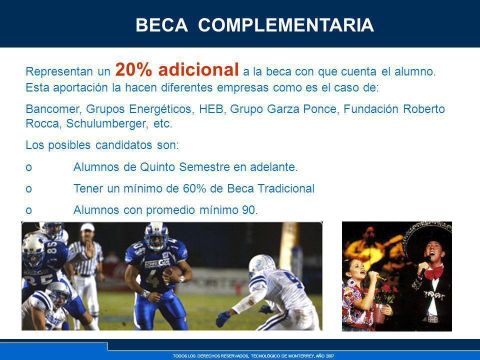 TODOS LOS DERECHOS RESERVADOS, TECNOLÓGICO DE MONTERREY, AÑO 2007 Becas Complementarias Representan un 20% adicional a la beca con que cuenta el alumn