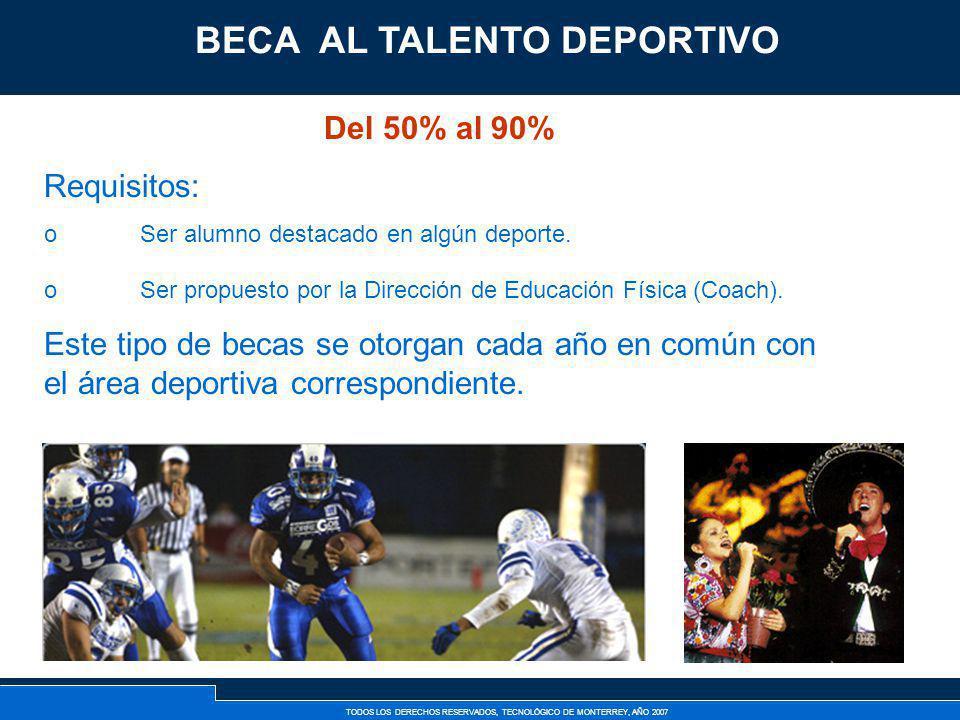 TODOS LOS DERECHOS RESERVADOS, TECNOLÓGICO DE MONTERREY, AÑO 2007 Becas Deportivas Del 50% al 90% Requisitos: oSer alumno destacado en algún deporte.