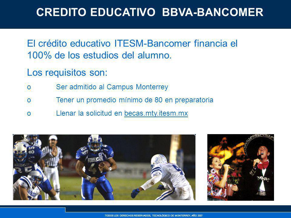 TODOS LOS DERECHOS RESERVADOS, TECNOLÓGICO DE MONTERREY, AÑO 2007 Créditos Externos Bancarios El crédito educativo ITESM-Bancomer financia el 100% de