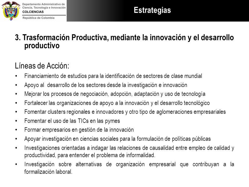 Estrategias 3. Trasformación Productiva, mediante la innovación y el desarrollo productivo Líneas de Acción: Financiamiento de estudios para la identi