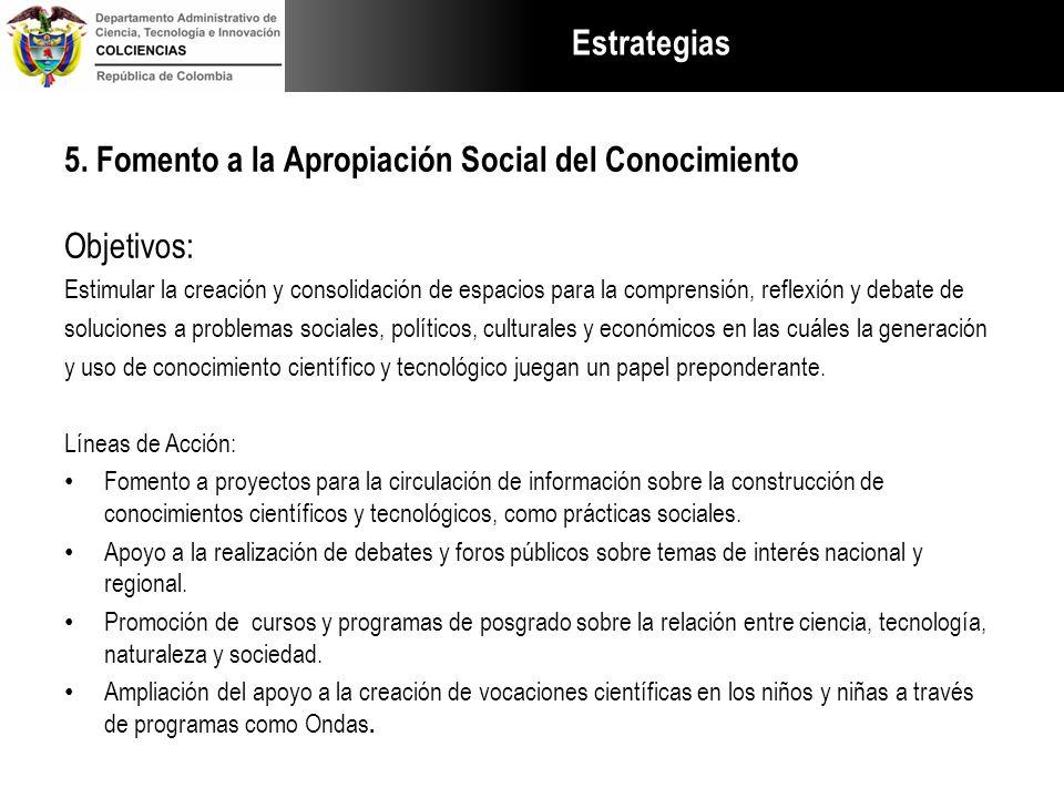 Estrategias 5. Fomento a la Apropiación Social del Conocimiento Objetivos: Estimular la creación y consolidación de espacios para la comprensión, refl