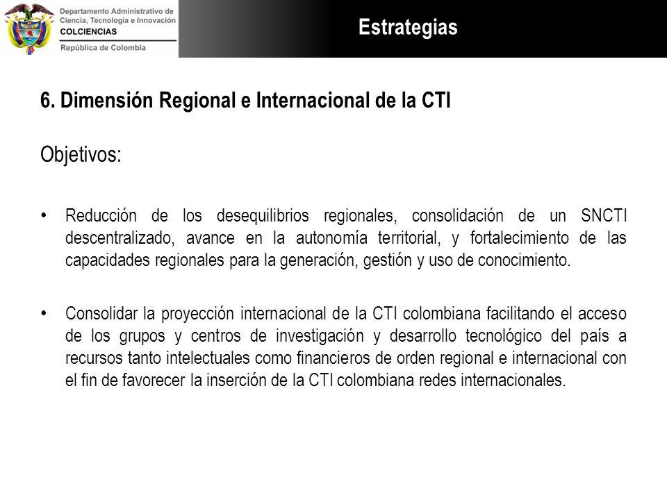 Estrategias 6. Dimensión Regional e Internacional de la CTI Objetivos: Reducción de los desequilibrios regionales, consolidación de un SNCTI descentra