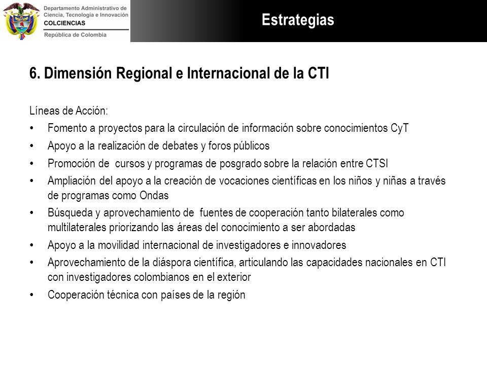 Estrategias 6. Dimensión Regional e Internacional de la CTI Líneas de Acción: Fomento a proyectos para la circulación de información sobre conocimient