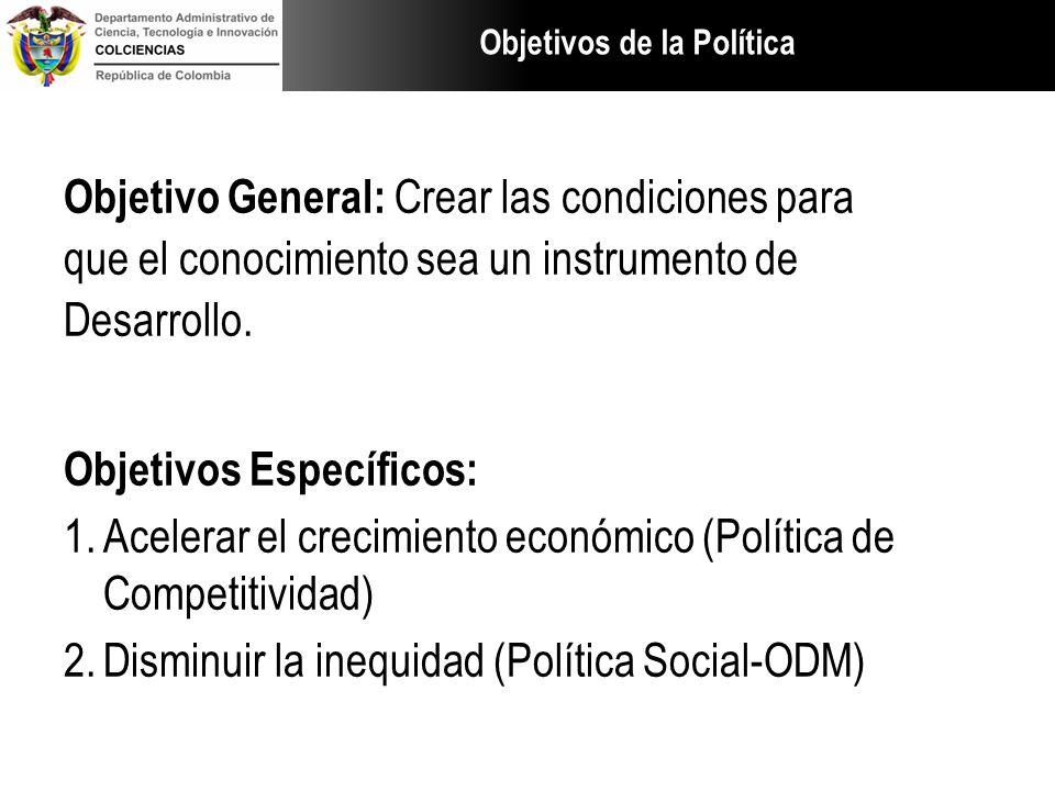 Objetivos de la Política Objetivo General: Crear las condiciones para que el conocimiento sea un instrumento de Desarrollo. Objetivos Específicos: 1.A