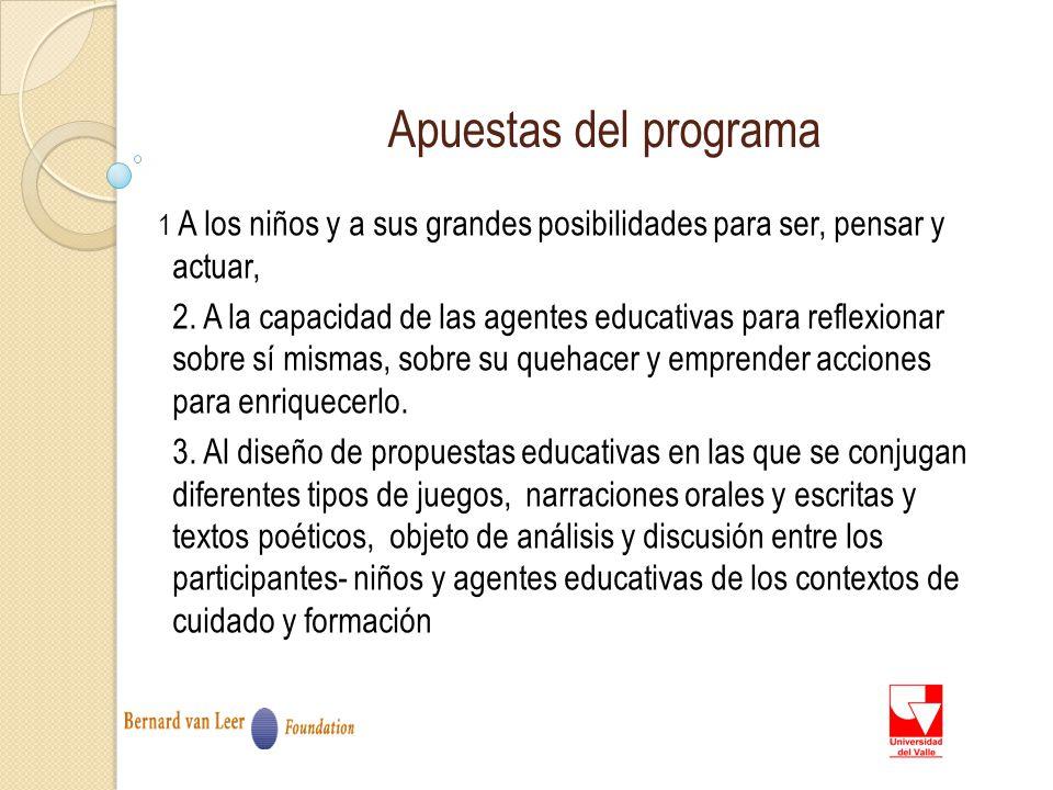 Apuestas del programa 1 A los niños y a sus grandes posibilidades para ser, pensar y actuar, 2.