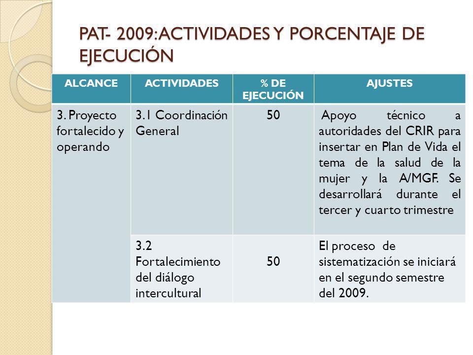 PAT- 2009: ACTIVIDADES Y PORCENTAJE DE EJECUCIÓN ALCANCEACTIVIDADES% DE EJECUCIÓN AJUSTES 3. Proyecto fortalecido y operando 3.1 Coordinación General