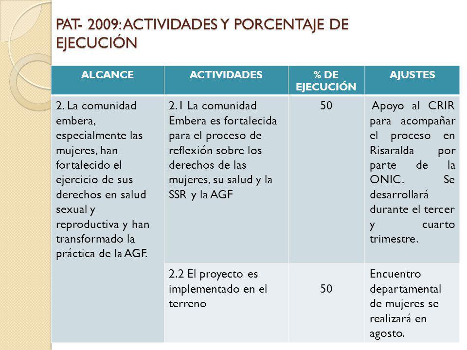 PAT- 2009: ACTIVIDADES Y PORCENTAJE DE EJECUCIÓN ALCANCEACTIVIDADES% DE EJECUCIÓN AJUSTES 2. La comunidad embera, especialmente las mujeres, han forta
