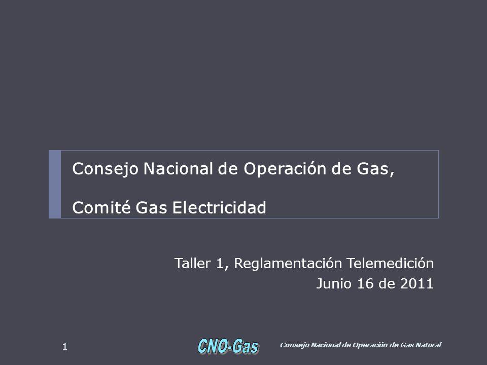 Taller 1, Reglamentación Telemedición Junio 16 de 2011 Consejo Nacional de Operación de Gas Natural 1 Consejo Nacional de Operación de Gas, Comité Gas Electricidad