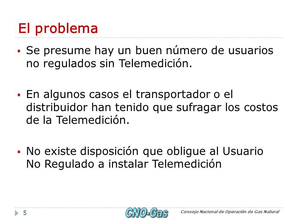 El problema Se presume hay un buen número de usuarios no regulados sin Telemedición. En algunos casos el transportador o el distribuidor han tenido qu