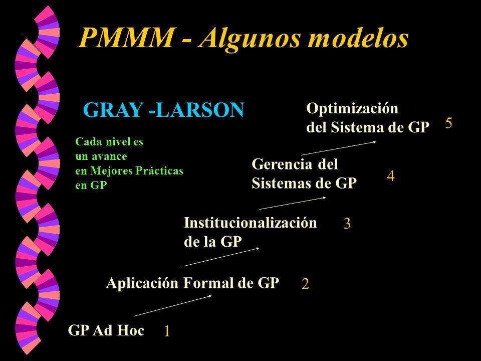 PMMM - Algunos modelos GP Ad Hoc Aplicación Formal de GP Institucionalización de la GP Gerencia del Sistemas de GP Optimización del Sistema de GP GRAY -LARSON Cada nivel es un avance en Mejores Prácticas en GP 1 2 3 4 5