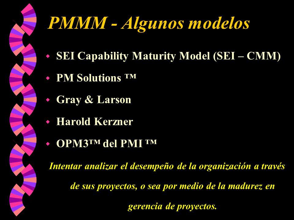 PMMM - Algunos modelos w SEI Capability Maturity Model (SEI – CMM) w PM Solutions w Gray & Larson w Harold Kerzner w OPM3 del PMI Intentar analizar el desempeño de la organización a través de sus proyectos, o sea por medio de la madurez en gerencia de proyectos.
