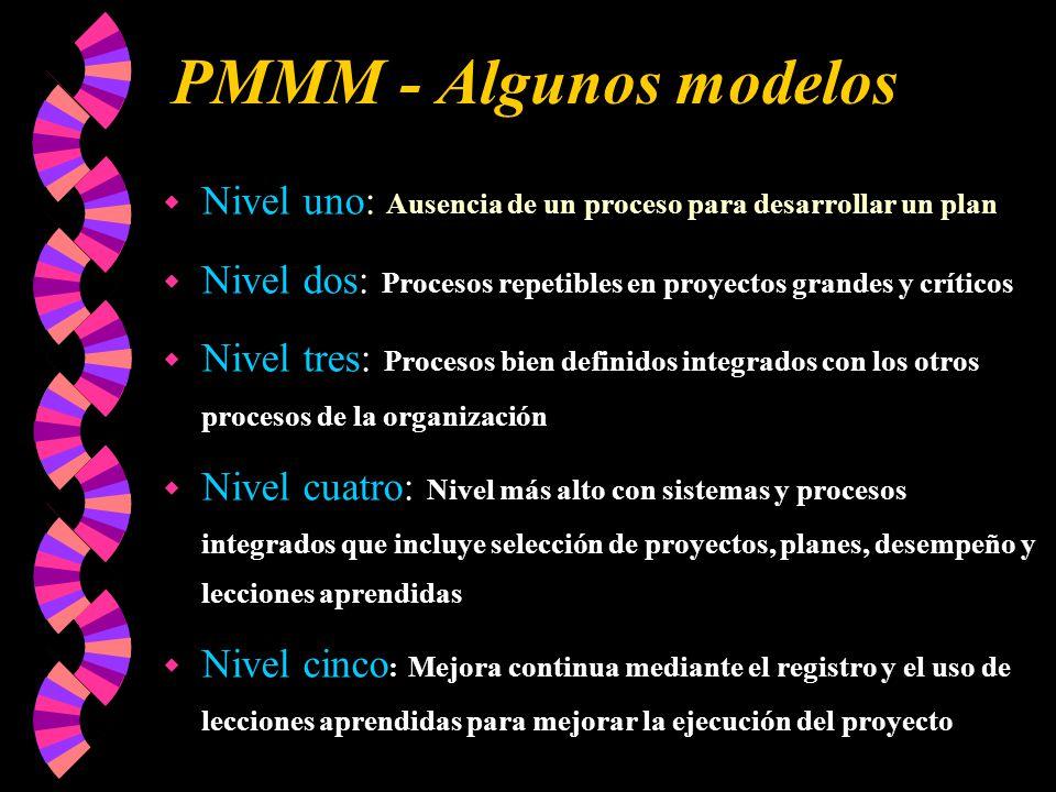 PMMM - Algunos modelos w Nivel uno: Ausencia de un proceso para desarrollar un plan w Nivel dos: Procesos repetibles en proyectos grandes y críticos w Nivel tres: Procesos bien definidos integrados con los otros procesos de la organización w Nivel cuatro: Nivel más alto con sistemas y procesos integrados que incluye selección de proyectos, planes, desempeño y lecciones aprendidas w Nivel cinco : Mejora continua mediante el registro y el uso de lecciones aprendidas para mejorar la ejecución del proyecto