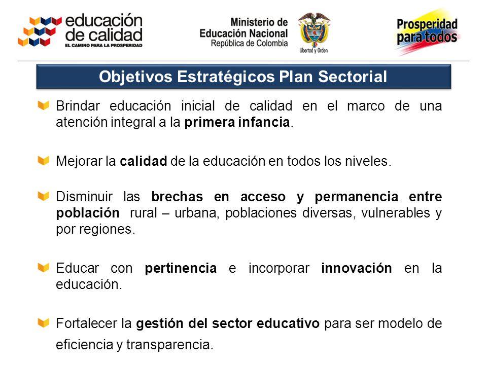 Brindar educación inicial de calidad en el marco de una atención integral a la primera infancia. Mejorar la calidad de la educación en todos los nivel