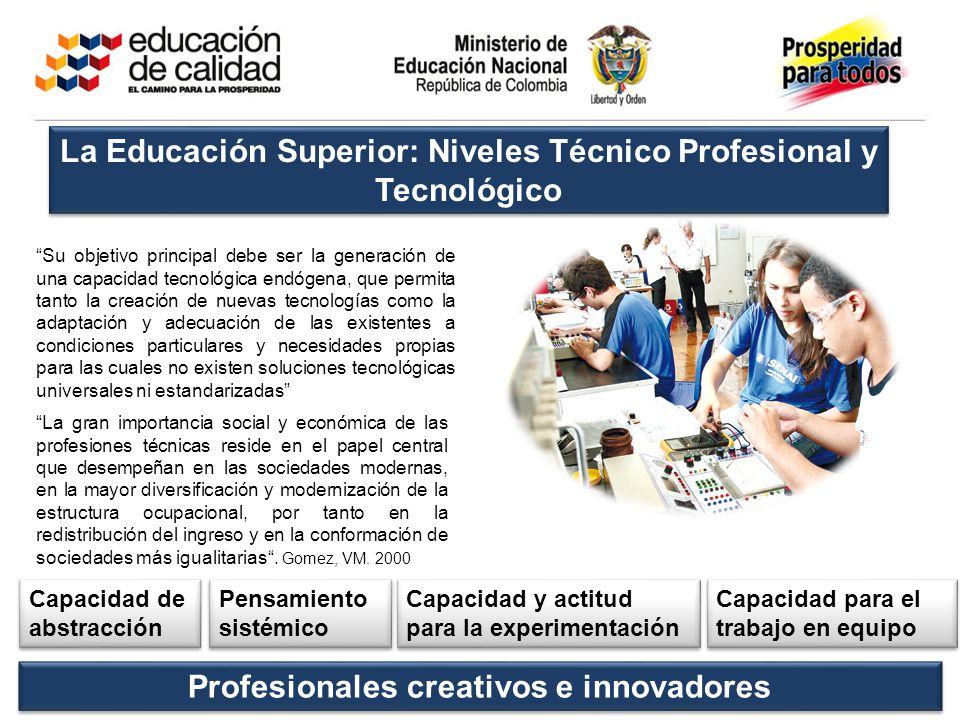 La Educación Superior: Niveles Técnico Profesional y Tecnológico Su objetivo principal debe ser la generación de una capacidad tecnológica endógena, q