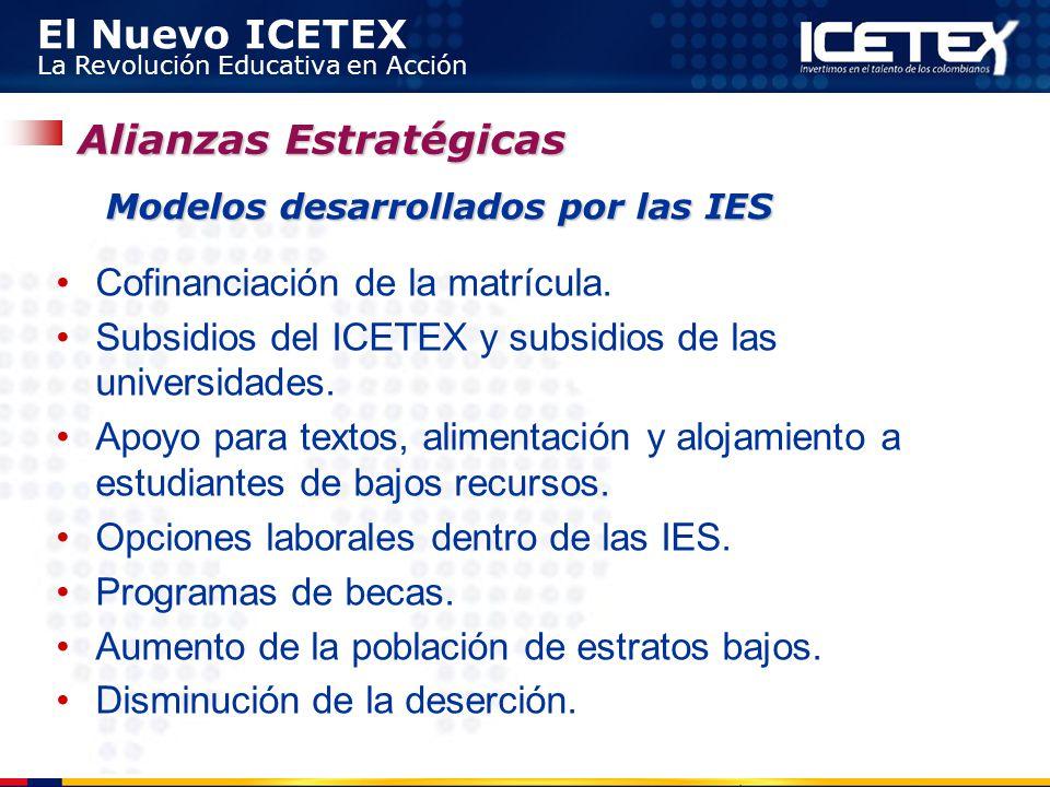 El Nuevo ICETEX La Revolución Educativa en Acción Cofinanciación de la matrícula. Subsidios del ICETEX y subsidios de las universidades. Apoyo para te