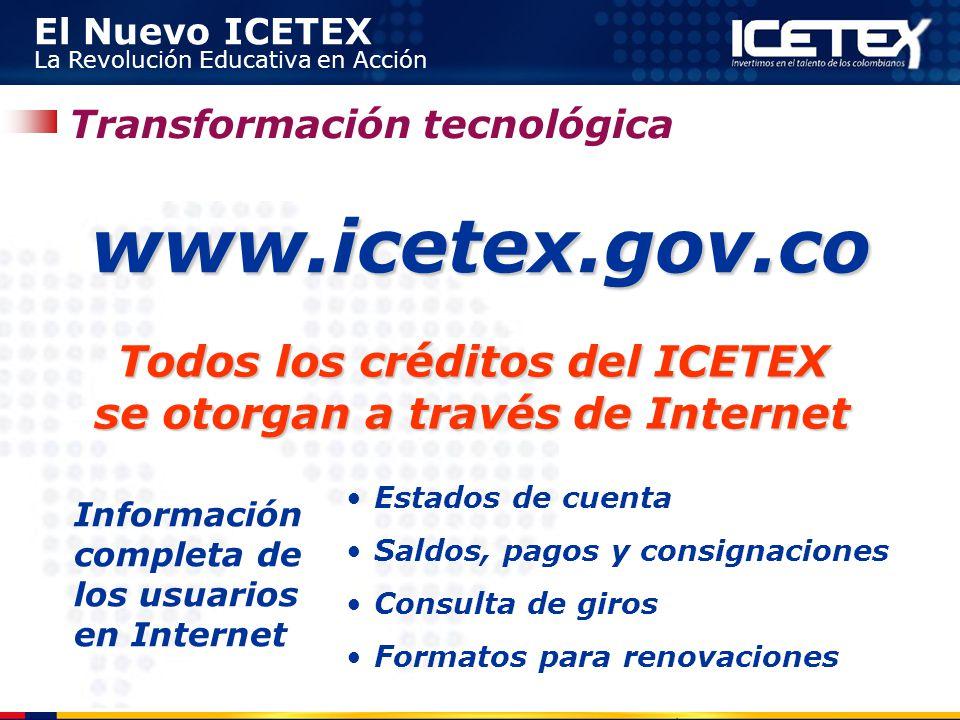 El Nuevo ICETEX La Revolución Educativa en Acción Transformación tecnológica Todos los créditos del ICETEX se otorgan a través de Internet www.icetex.