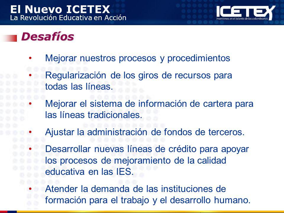 El Nuevo ICETEX La Revolución Educativa en Acción Desafíos Mejorar nuestros procesos y procedimientos Regularización de los giros de recursos para tod