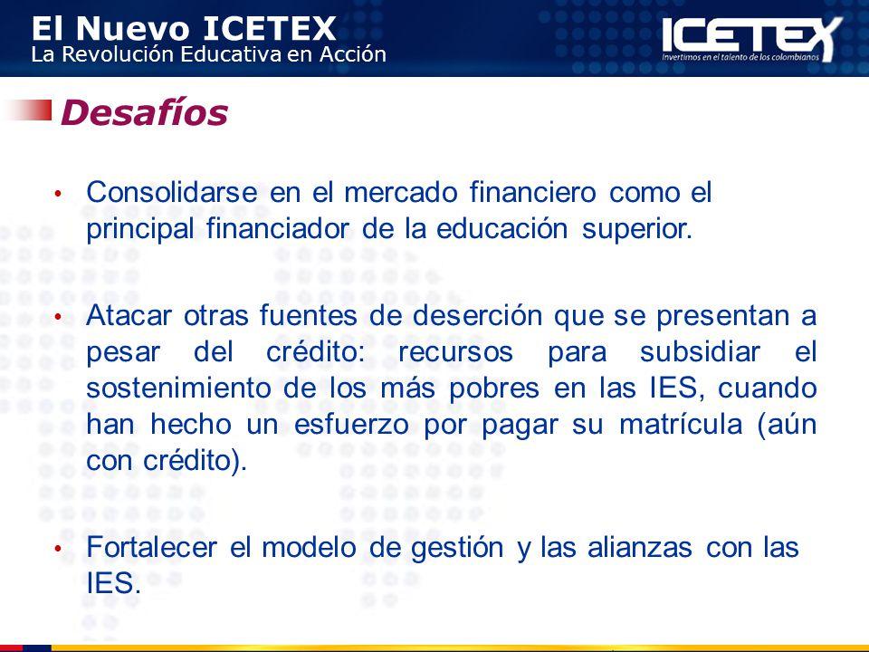 El Nuevo ICETEX La Revolución Educativa en Acción Consolidarse en el mercado financiero como el principal financiador de la educación superior. Atacar