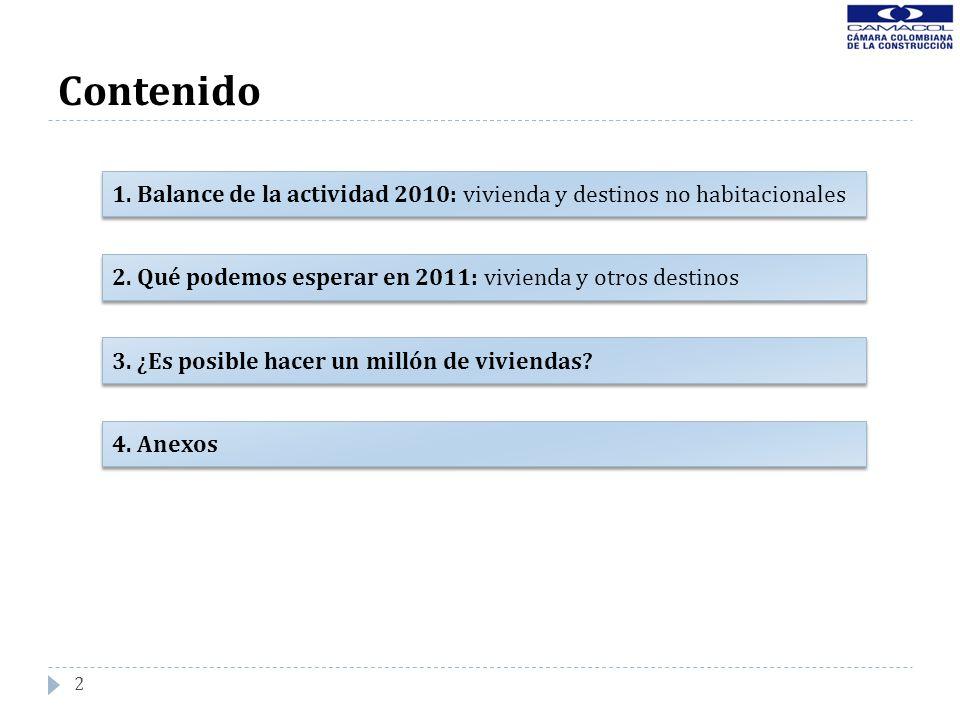 2 Contenido 1. Balance de la actividad 2010: vivienda y destinos no habitacionales 2. Qué podemos esperar en 2011: vivienda y otros destinos 4. Anexos