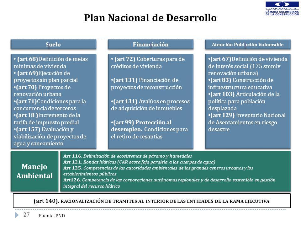 27 Plan Nacional de Desarrollo (art 140). RACIONALIZACIÓN DE TRAMITES AL INTERIOR DE LAS ENTIDADES DE LA RAMA EJECUTIVA Fuente. PND Suelo Financiación