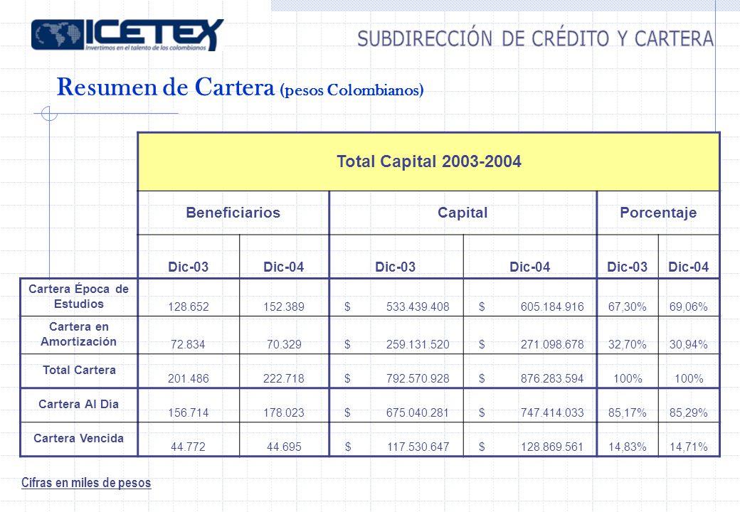 Resumen de Cartera (pesos Colombianos) Cifras en miles de pesos Total Capital 2003-2004 BeneficiariosCapitalPorcentaje Dic-03Dic-04Dic-03Dic-04Dic-03Dic-04 Cartera Época de Estudios 128.652 152.389 $ 533.439.408 $ 605.184.91667,30%69,06% Cartera en Amortización 72.834 70.329 $ 259.131.520 $ 271.098.67832,70%30,94% Total Cartera 201.486 222.718 $ 792.570.928 $ 876.283.594100% Cartera Al Día 156.714 178.023 $ 675.040.281 $ 747.414.03385,17%85,29% Cartera Vencida 44.772 44.695 $ 117.530.647 $ 128.869.56114,83%14,71%