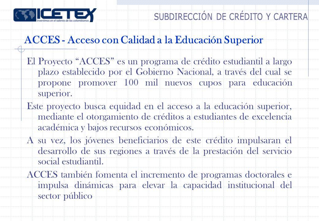Cifras Proyecto ACCES Valor total del proyecto US$ 287.5 millones Monto del Crédito US$ 200 millones Monto contrapartida US$ 87.5 millones Valor de subsidio total otorgado a marzo/05 US$ 7.8 millones Metas 100.000 Créditos de educación superior para pregrado en el país estratos 1, 2 y 3 (ICETEX) 8 Nuevos programas de doctorados nacionales (Colciencias – ICETEX) 1 Observatorio laboral (MEN – ICETEX) Fortalecimiento Institucional (MEN – ICETEX)
