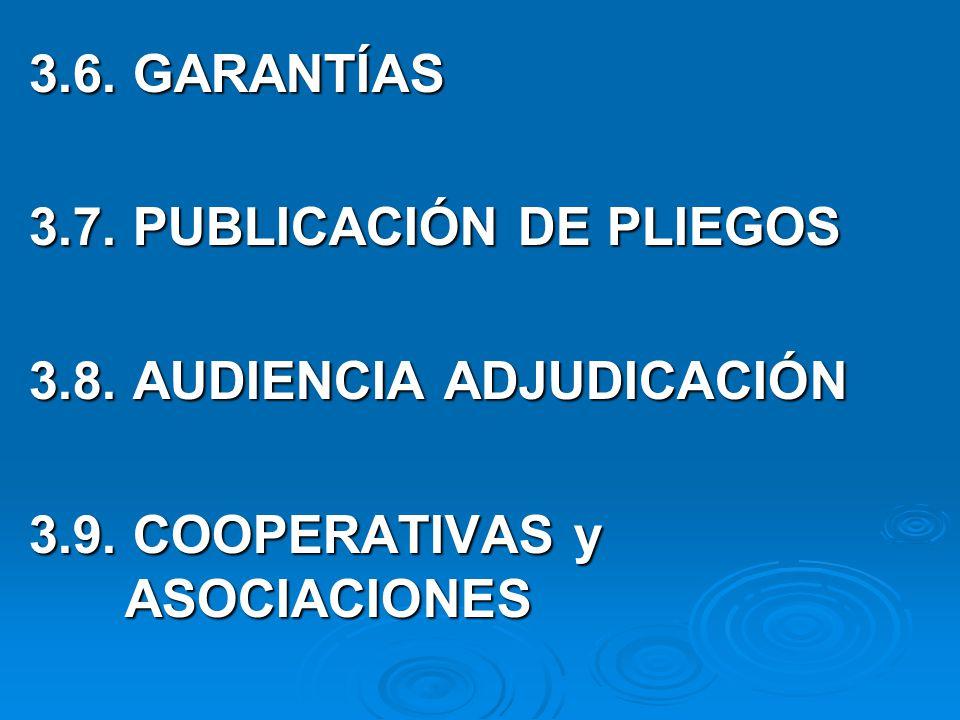 3.6.GARANTÍAS 3.7. PUBLICACIÓN DE PLIEGOS 3.8. AUDIENCIA ADJUDICACIÓN 3.9.