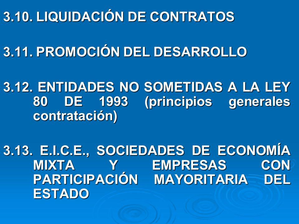 3.10.LIQUIDACIÓN DE CONTRATOS 3.11. PROMOCIÓN DEL DESARROLLO 3.12.