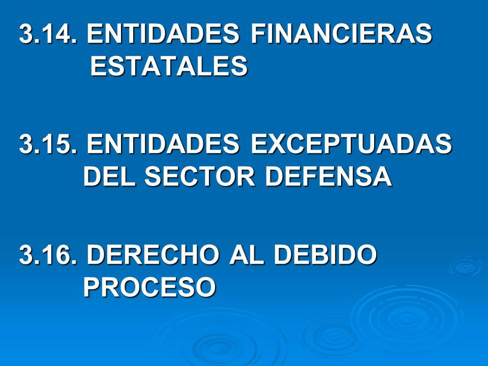 3.14.ENTIDADES FINANCIERAS ESTATALES 3.15. ENTIDADES EXCEPTUADAS DEL SECTOR DEFENSA 3.16.