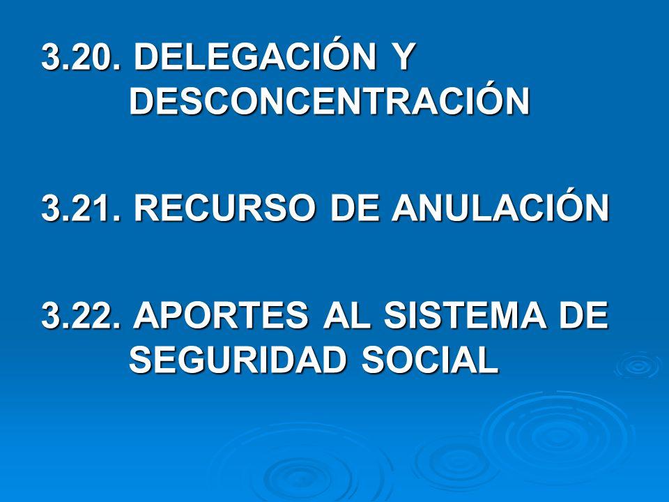 3.20.DELEGACIÓN Y DESCONCENTRACIÓN 3.21. RECURSO DE ANULACIÓN 3.22.