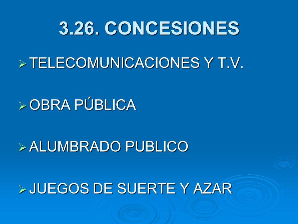 3.26.CONCESIONES TELECOMUNICACIONES Y T.V. TELECOMUNICACIONES Y T.V.