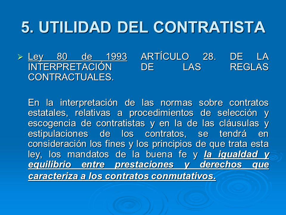 Ley 80 de 1993 ARTÍCULO 28.DE LA INTERPRETACIÓN DE LAS REGLAS CONTRACTUALES.