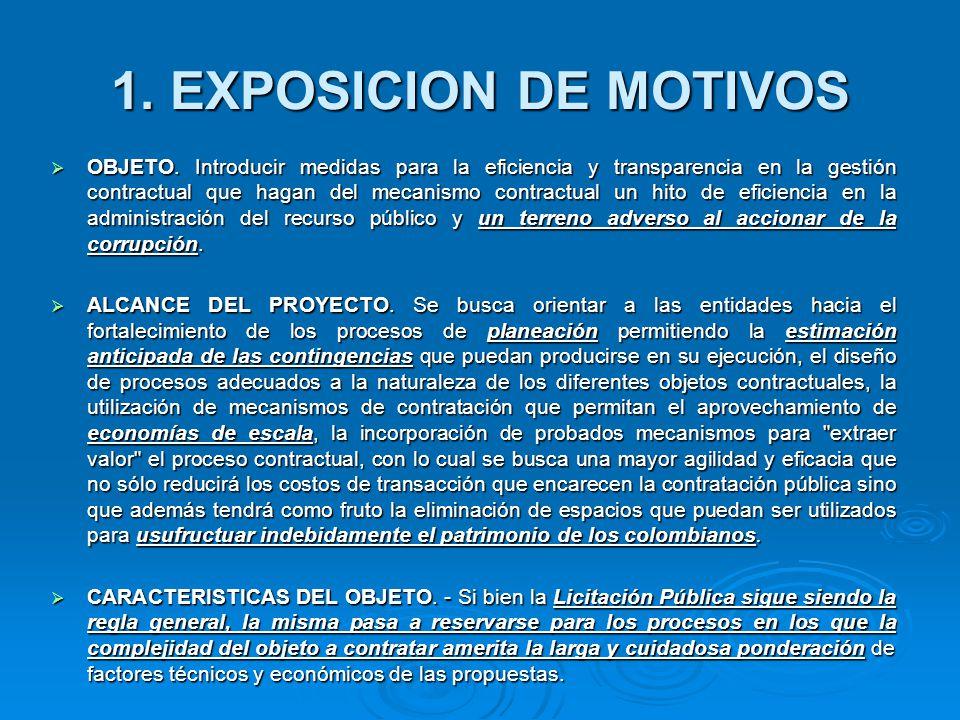 1.EXPOSICION DE MOTIVOS OBJETO.