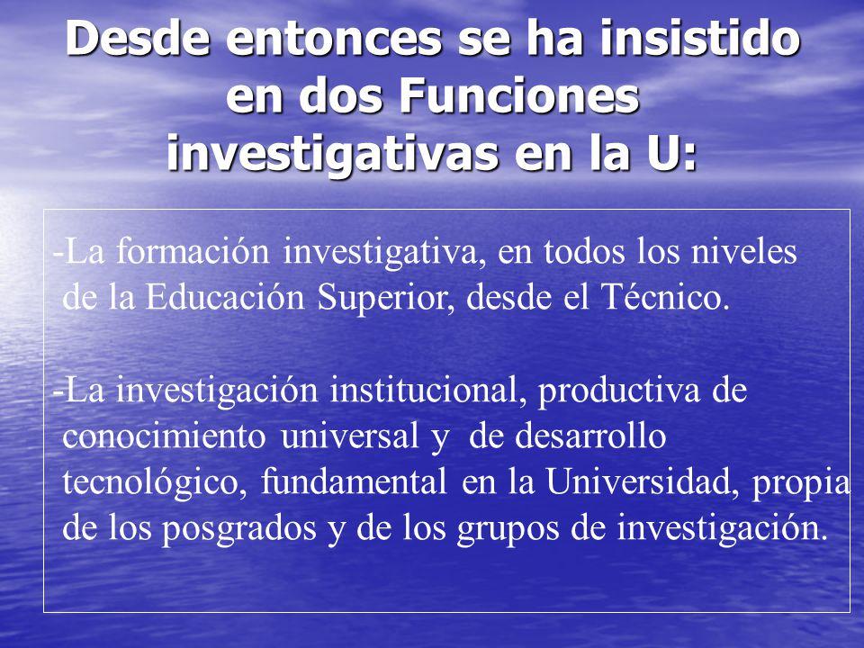 Desde entonces se ha insistido en dos Funciones investigativas en la U: -La formación investigativa, en todos los niveles de la Educación Superior, de