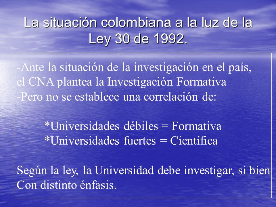 La situación colombiana a la luz de la Ley 30 de 1992. -Ante la situación de la investigación en el país, el CNA plantea la Investigación Formativa -P