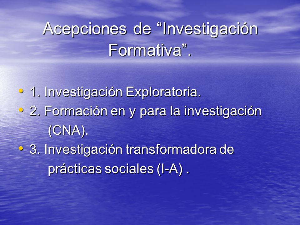 Acepciones de Investigación Formativa. 1. Investigación Exploratoria. 1. Investigación Exploratoria. 2. Formación en y para la investigación 2. Formac