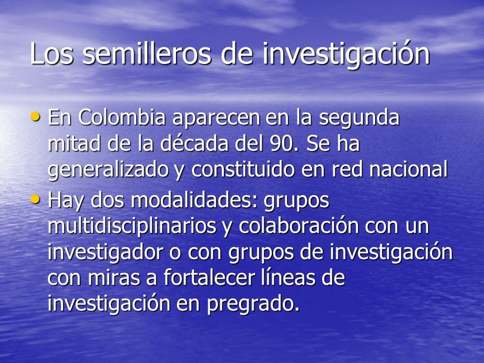 Los semilleros de investigación En Colombia aparecen en la segunda mitad de la década del 90. Se ha generalizado y constituido en red nacional En Colo