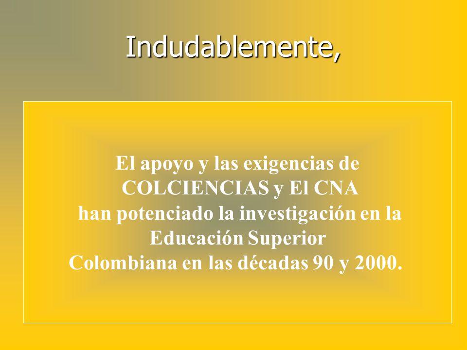 Indudablemente, El apoyo y las exigencias de COLCIENCIAS y El CNA han potenciado la investigación en la Educación Superior Colombiana en las décadas 9