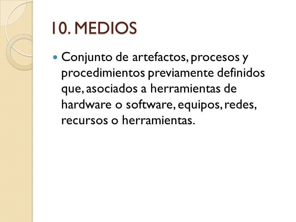 10. MEDIOS Conjunto de artefactos, procesos y procedimientos previamente definidos que, asociados a herramientas de hardware o software, equipos, rede