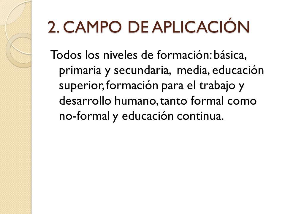 2. CAMPO DE APLICACIÓN Todos los niveles de formación: básica, primaria y secundaria, media, educación superior, formación para el trabajo y desarroll