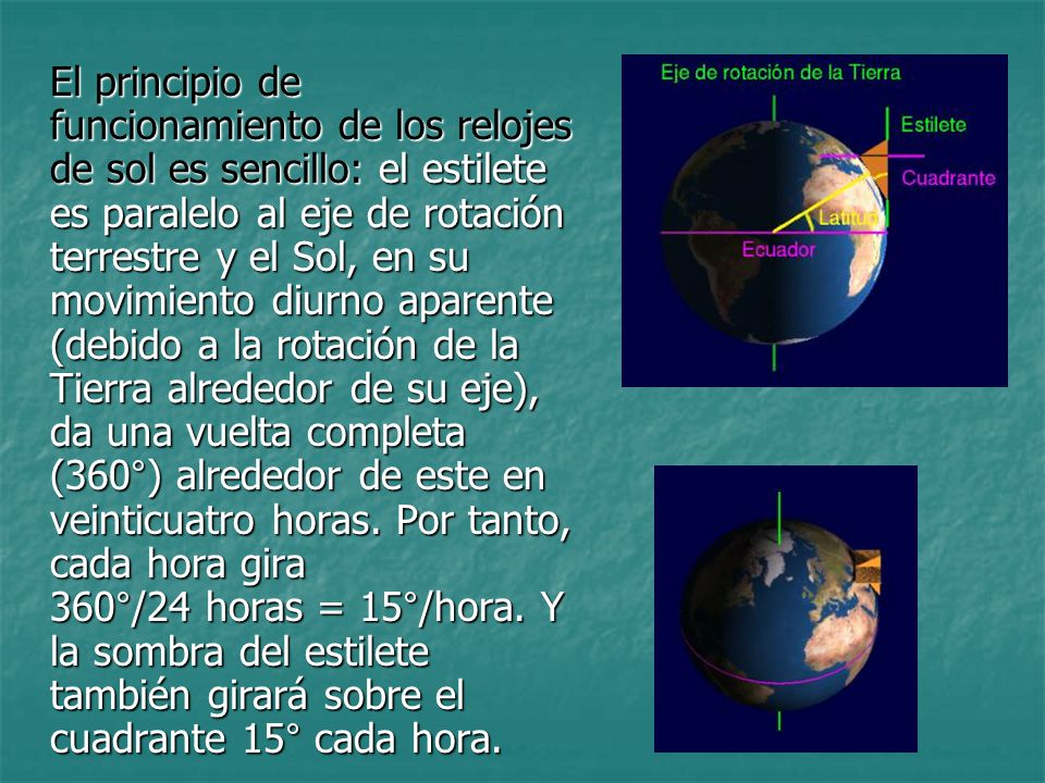 El principio de funcionamiento de los relojes de sol es sencillo: el estilete es paralelo al eje de rotación terrestre y el Sol, en su movimiento diur