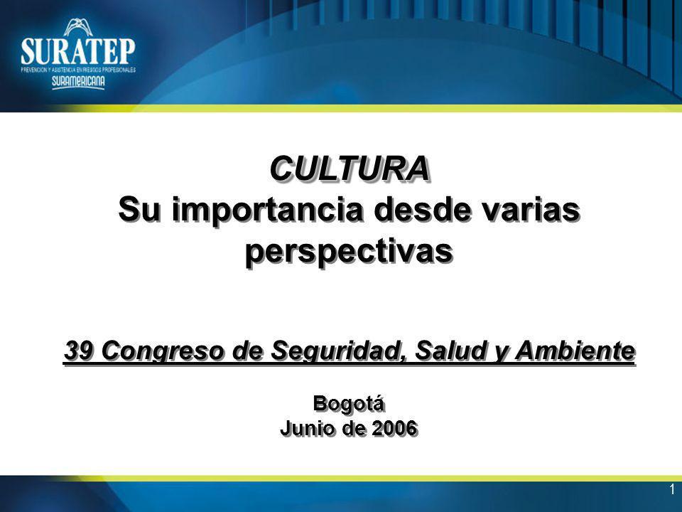 1 CULTURA Su importancia desde varias perspectivas 39 Congreso de Seguridad, Salud y Ambiente Bogotá Junio de 2006CULTURA Su importancia desde varias