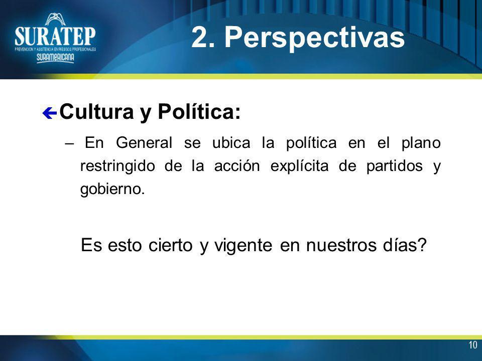 10 ç Cultura y Política: – En General se ubica la política en el plano restringido de la acción explícita de partidos y gobierno. Es esto cierto y vig
