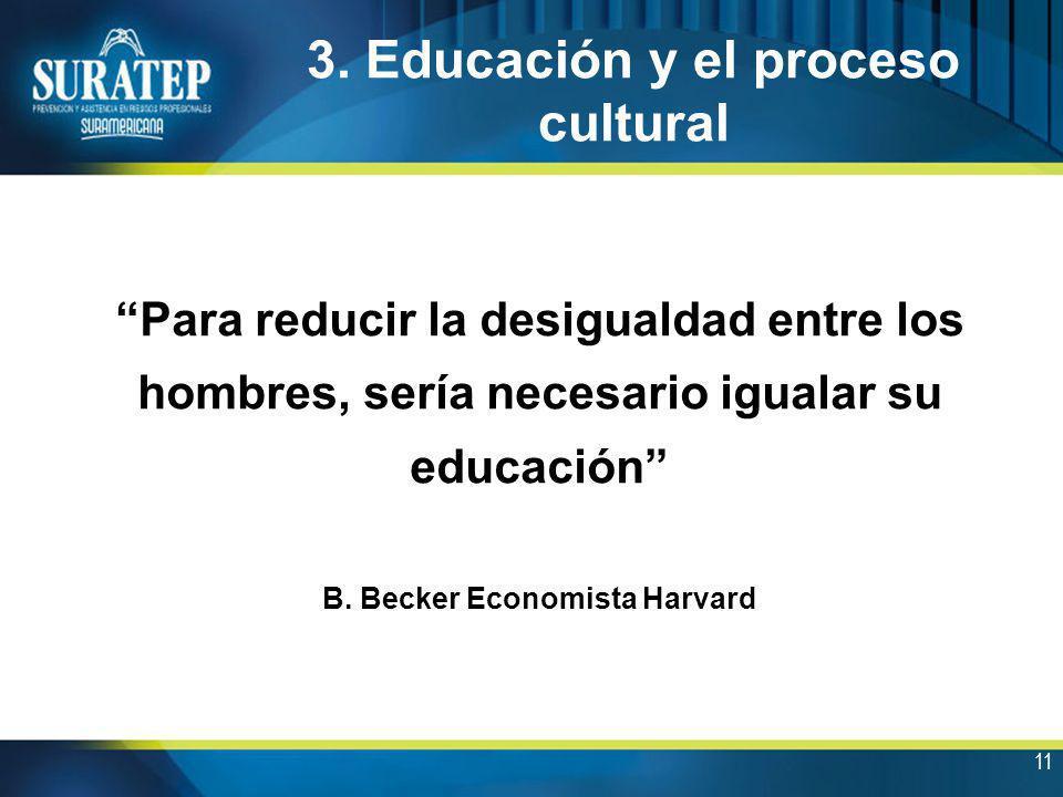 11 3. Educación y el proceso cultural Para reducir la desigualdad entre los hombres, sería necesario igualar su educación B. Becker Economista Harvard