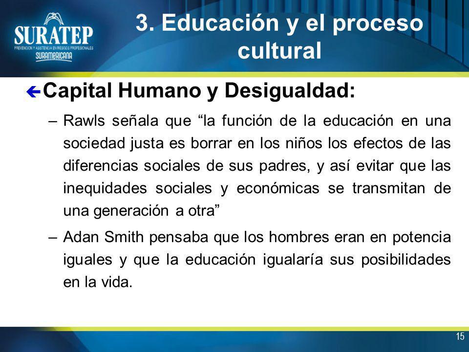 15 3. Educación y el proceso cultural ç Capital Humano y Desigualdad: –Rawls señala que la función de la educación en una sociedad justa es borrar en
