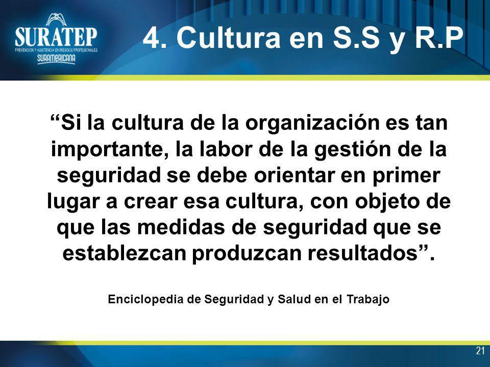 21 4. Cultura en S.S y R.P Si la cultura de la organización es tan importante, la labor de la gestión de la seguridad se debe orientar en primer lugar