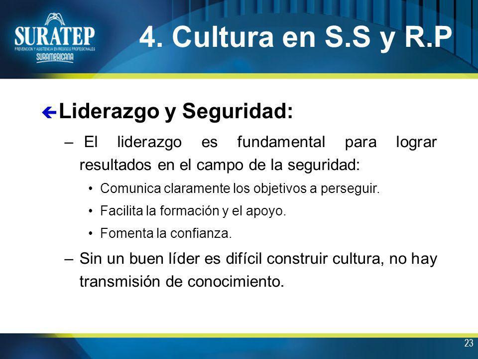 23 4. Cultura en S.S y R.P ç Liderazgo y Seguridad: – El liderazgo es fundamental para lograr resultados en el campo de la seguridad: Comunica clarame