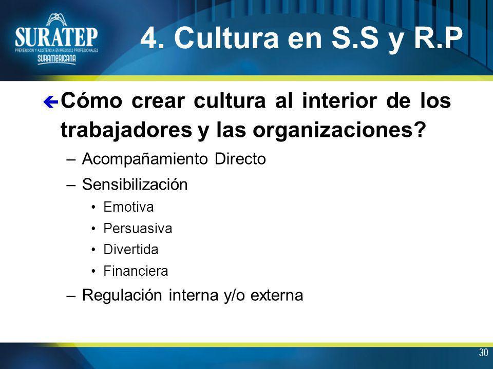 30 4. Cultura en S.S y R.P ç Cómo crear cultura al interior de los trabajadores y las organizaciones? –Acompañamiento Directo –Sensibilización Emotiva