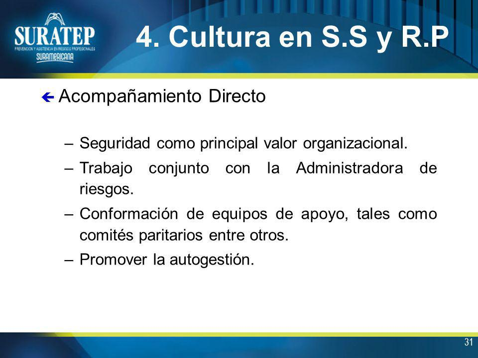 31 4. Cultura en S.S y R.P ç Acompañamiento Directo –Seguridad como principal valor organizacional. –Trabajo conjunto con la Administradora de riesgos