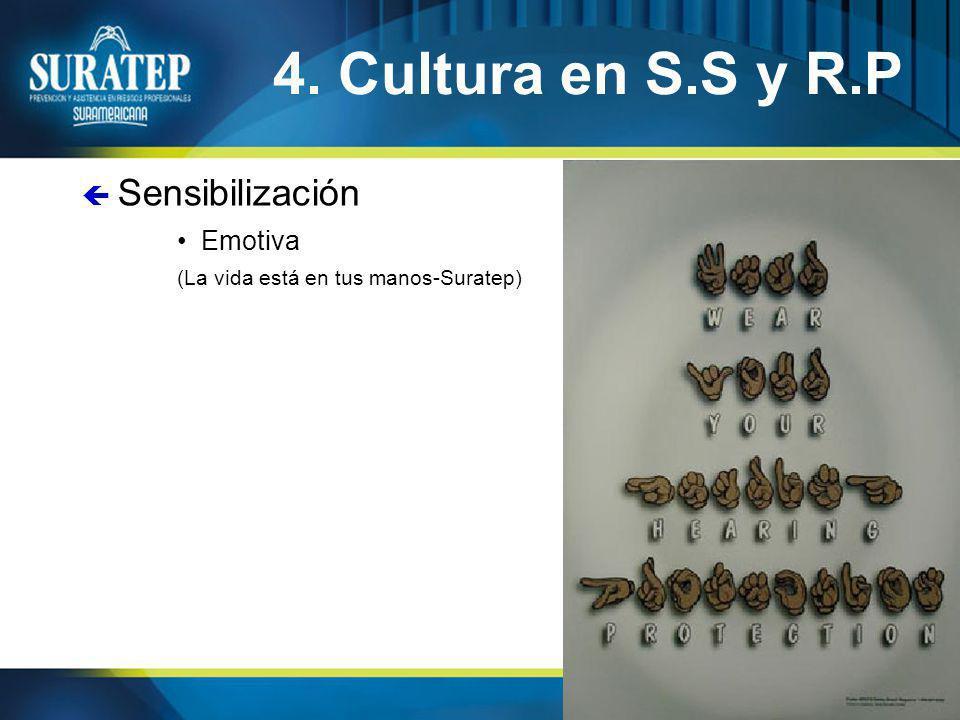 32 4. Cultura en S.S y R.P Emotiva (La vida está en tus manos-Suratep) ç Sensibilización